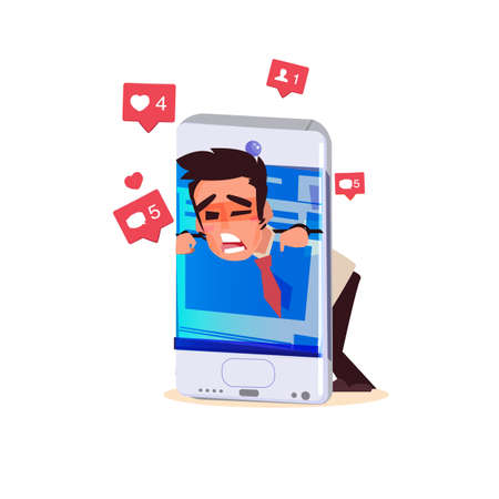 Male trapped in smartphone. smartphone addict concept - vector illustration