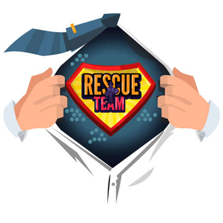 man open shirt to show rescue team typographic design in comic style - vector illustration 일러스트