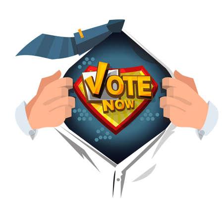man open shirt to show Vote Noe - vector illustration