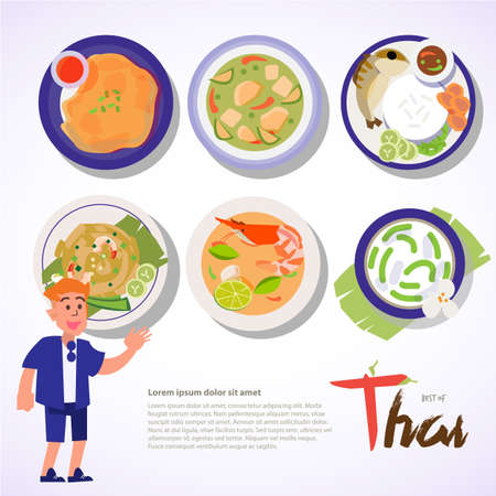 Thai food set recommend by the tourist. typographic of Thai Food - vector illustration Иллюстрация