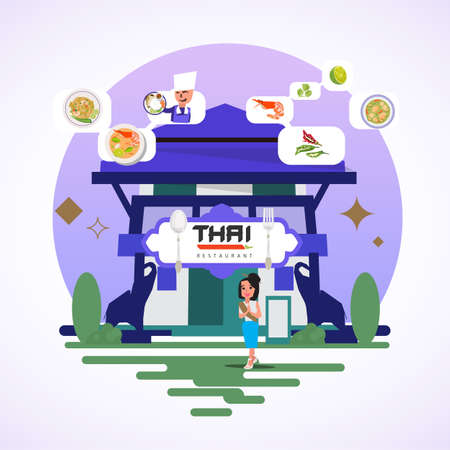 Thai restaurant concept - vector illustration