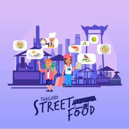 Thailand street food skyline, icon or symbol with typographic for header design - vector illustration