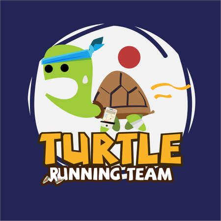 Running Turtle. slowly running with running gear - vector illustration  イラスト・ベクター素材