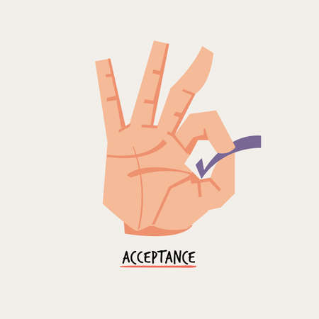 Accepting or Okay hand sign. business management concept - vector illustration