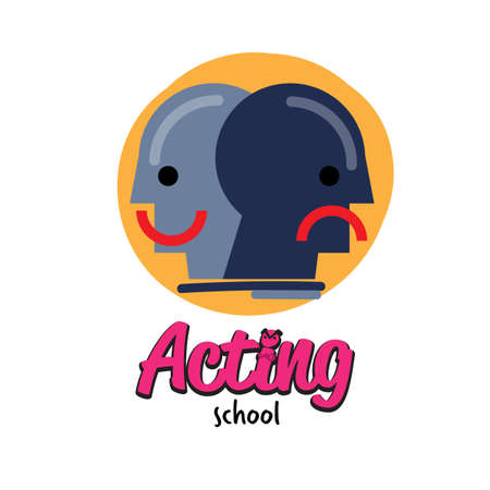 acting school logo design - vector illustration