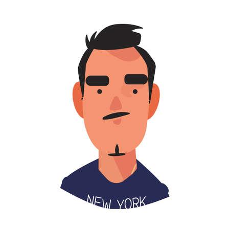 """uomo con t-shirt """"New York"""" concetto newyorkese - illustrazione vettoriale"""