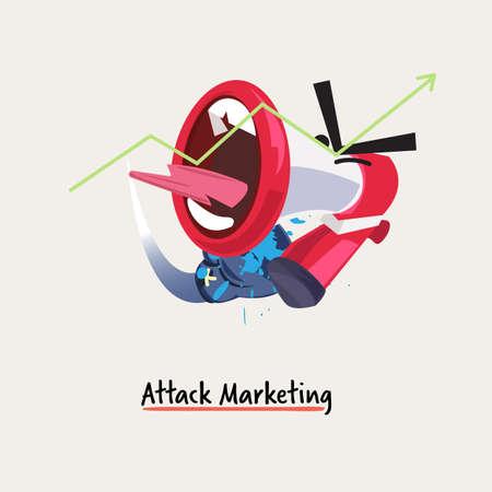 marketing de ataque. dibujos animados de megáfono golpeando o perforando con un guante de boxeo. concepto de gestión empresarial o de marketing - ilustración vectorial Ilustración de vector