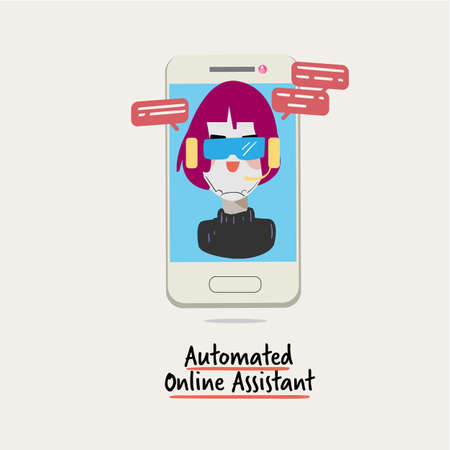 Automated online assistant. A virtual assistant. Intelligent Personal Assistant, Automated Personal Assistant or Automated Virtual Personal - vector illustration Illustration