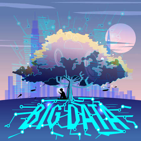 Big data. Big tree with circuit line or  binary of information as root. conccept of big data connected to big tree - vector illustration