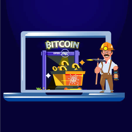 mine entrance with gold miner holding shovel with cart of bitcoin. Bitcoin mining concept - vector illustration 일러스트