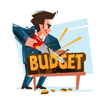 businessman cutting budget text, vector illustration 일러스트