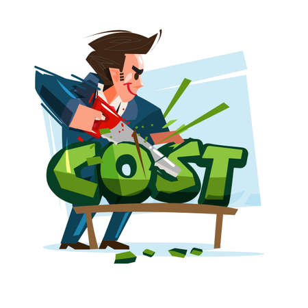 businessman cutting cost text-vector illustration