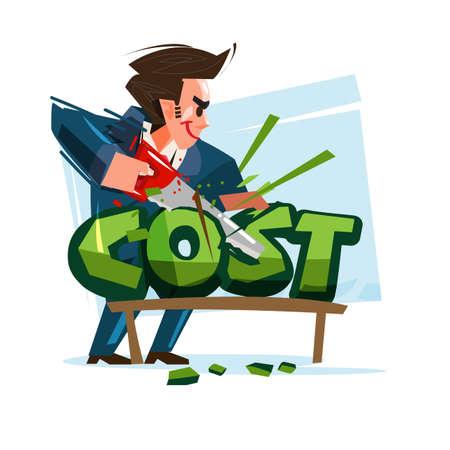 Geschäftsmann Kostensenkung Text-Vektor-Illustration Vektorgrafik