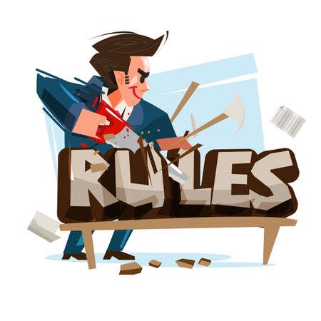 ビジネスマンはルールテキストをカットします。ルールの概念を破る - ベクトルのイラストレーション