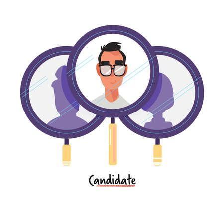 candidate in business or office concept. portrait man inside magnifier view  - vector illustration Stock Illustratie