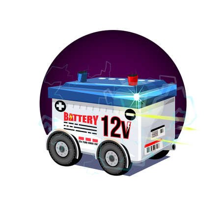 car battery with wheel. 12 volts battery - vector illustration Фото со стока - 126346564