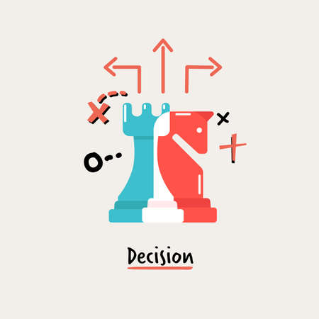 Chess of Dicision. business management concept - vector illustration