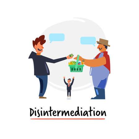 Acuerdo libre de reducción, desintermediación de iconos planos - ilustración vectorial Ilustración de vector