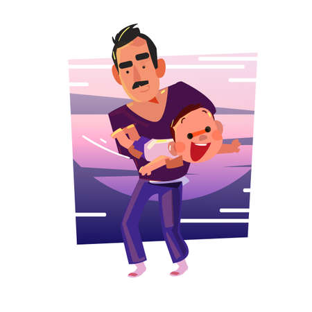 Father and his son playing together as plane  - vector illustration