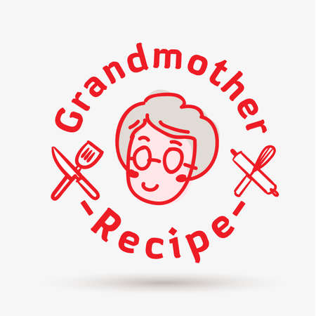grandmother recipe logo template. logo for restaurant or homemade cooking - vector illustration