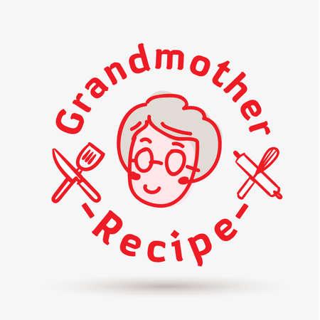 modello di logo della ricetta della nonna. logo per ristorante o cucina casalinga - illustrazione vettoriale