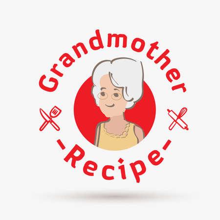 Großmutter-Rezept-Logo-Vorlage. Logo für Restaurant oder hausgemachte Küche - Vektorillustration
