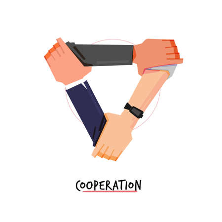 man  forming triangle by holding arms. cooperation hand - vector illustration