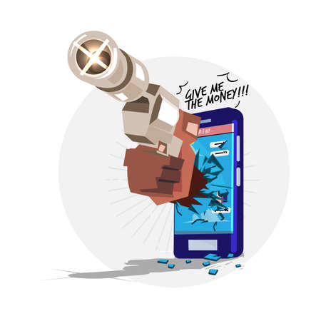 hand with gun try to Stealing personal information from your mobile phone. hacker or scam concept - vector illustration