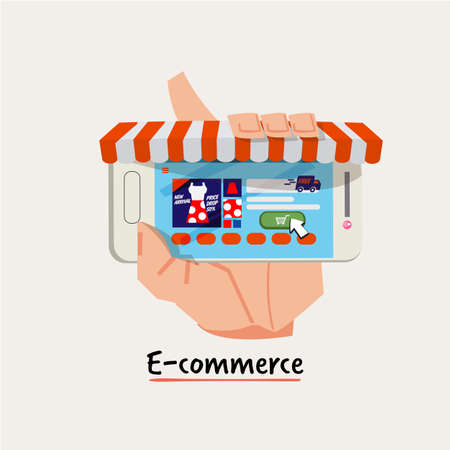Shopping online business conceptual. hand holding smartphone as online shop. online shopping. e-commerce concept - vector illustration