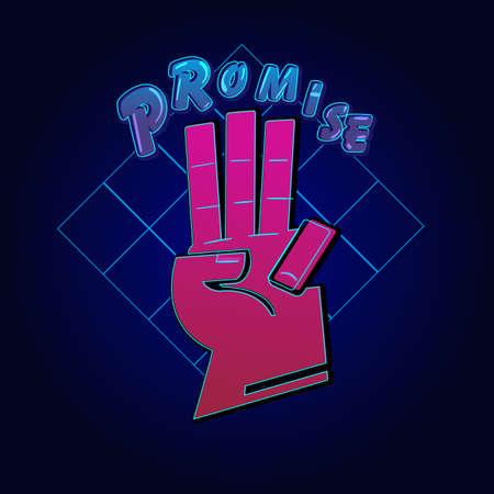 Signe de la main de promesse. main donnant un signe de promesse de scouts. Salut à trois doigts - illustration vectorielle Vecteurs