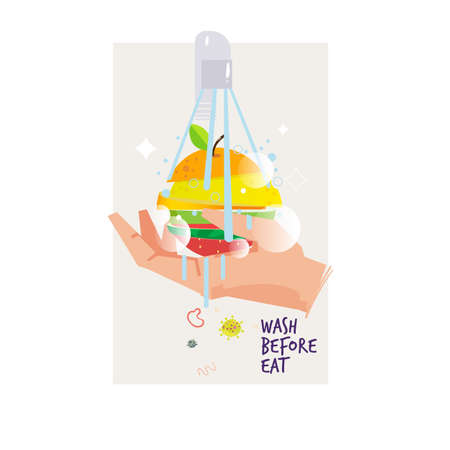 hand wahing mix of fruit before eat - vector illustration Illustration
