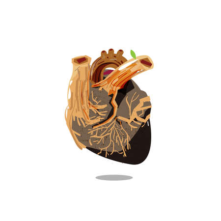 wooden of the human heart. concept of save therworld - vector illustration 일러스트