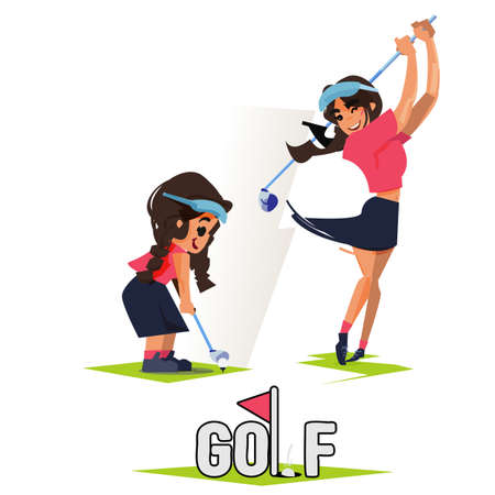 Girl and her future as golf player in Swing Sequence. Then and Now concept. What do you want to be when you grow up.  Dreaming to be a golf player - vector Stock Illustratie