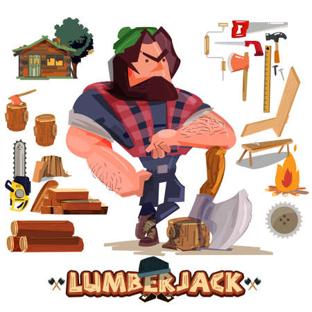 Lumberjack or carpenter with tool and equipment set - vector illustration
