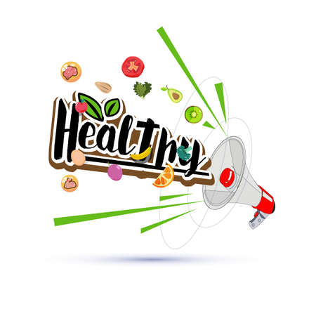 megapgone with healthy elements - vector illustration Çizim