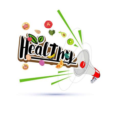 megapgone with healthy elements - vector illustration Illustration