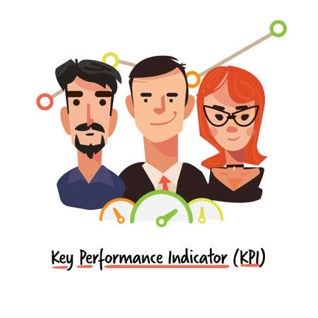 Key Performance Indicator. business management concept–  vector illustration Иллюстрация