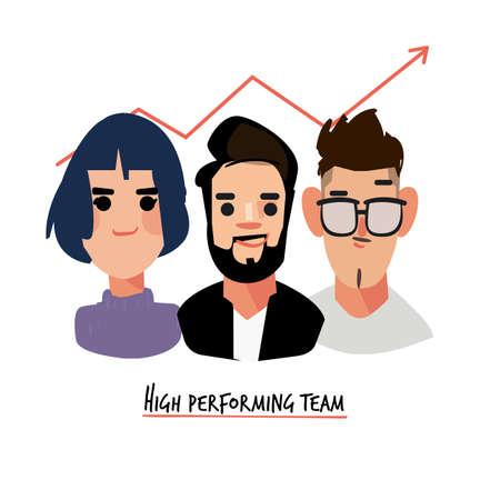 group performance team. High-Performance Teamwork concept - vector illustration