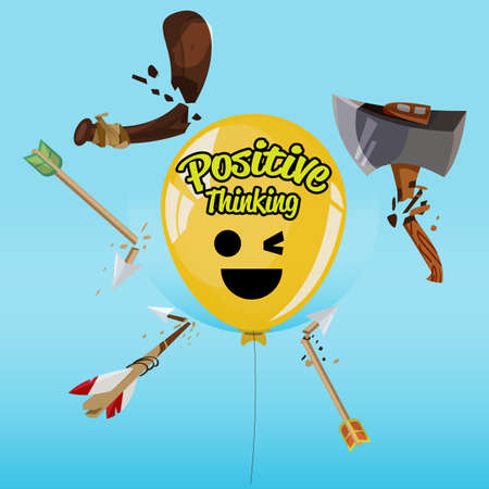balloon of positive thinking  hitting by weapon and tool and still fine - vector illustration