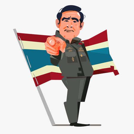 Prayuth Chan-ocha Premierminister von Thailand. Bangkok, Thailand, August 2018. Charakterdesign mit Flagge - Vektorillustration