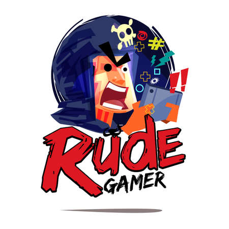 Rude gamer logo. mad gamer concept - vector illustration Illustration