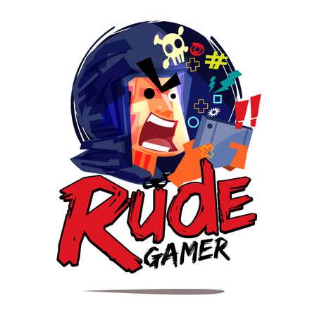 Rude gamer logo. mad gamer concept - vector illustration Illustration