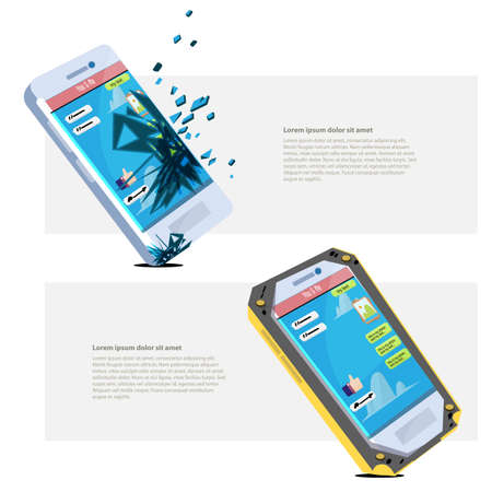 broken smartphone and fine smartphone with protection case - vector illustration