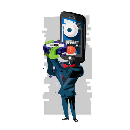 smartphone as monster eating clock of time. social media or smartphone waste a time concept - vector illustration