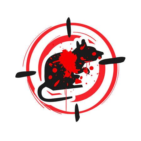 Zeichen der Rattentötungszone. Ratten-Warnschild. Stoppschild Ratte - Vektor-Illustration vector