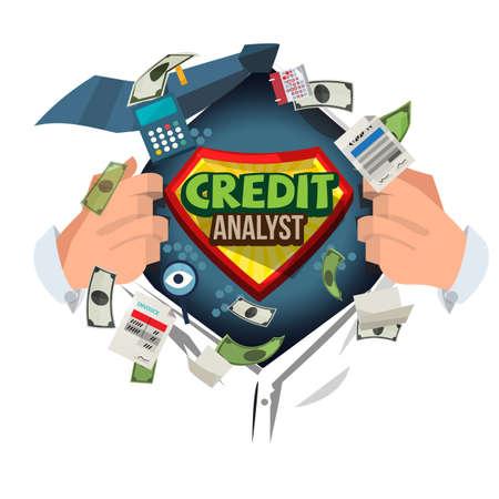 man open shirt to show  credit analyst. vector illustration Ilustração