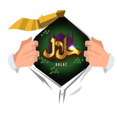 man open shirt to show halal . vector illustration