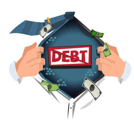 man open shirt to show  Debt  . vector illustration