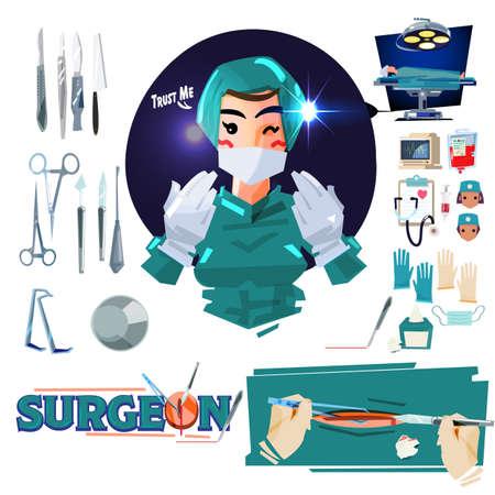 Cirujano con icono médico en sala de operaciones - ilustración vectorial