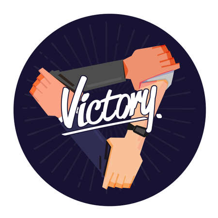 Victory hand sign. Victory hand cross with typographic. teamwork concept- vector illustration